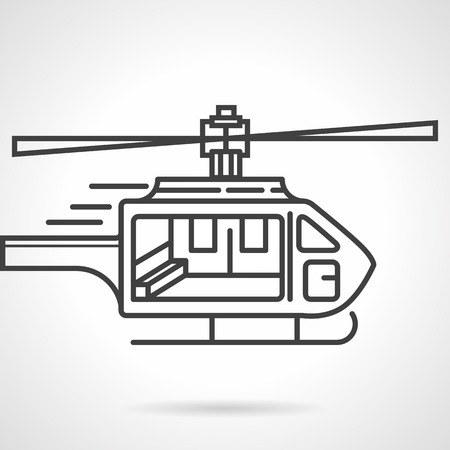 fuselage: Single black flat line icon for emergency helicopter on white background.