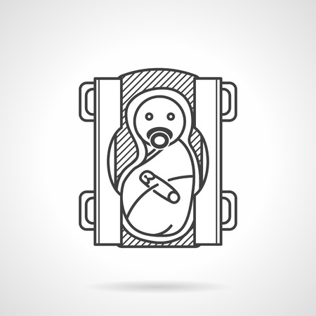 swaddling: Flat line icon for swaddle newborn with nipple on changing table on white background. Illustration