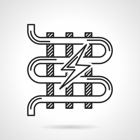 floor heating: Single flat line vector icon for electrical underfloor heating with lightning sign on white background.