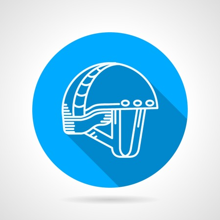 Flat circle blue vector icon for rock climbing helmet on gray background with long shadow. Illustration