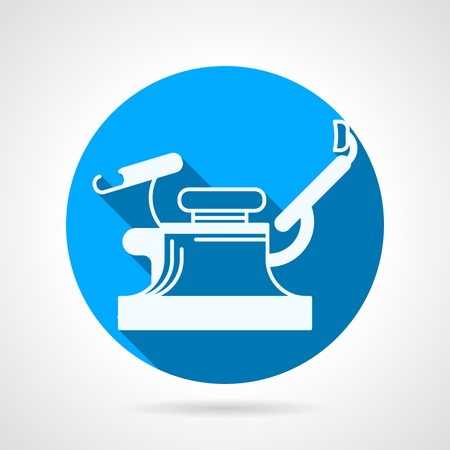 gynecologist: Flat circle blue vector icon with white silhouette gynecology chair on gray background with long shadow. Illustration