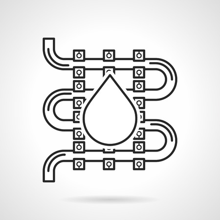 exchanger: Sketch vector icon for underfloor water heating with drop sign on white background. Illustration