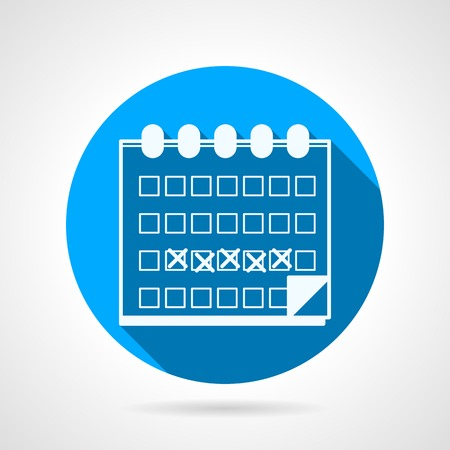 pms: Flat circle blue vector icon with white silhouette calendar with marked menstruation days  on gray background with long shadow. Illustration