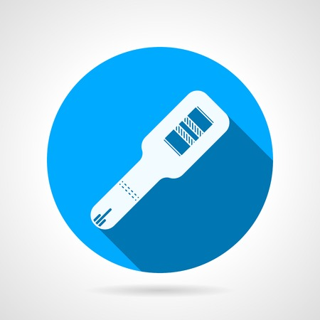 the result pregnancy test: Blue flat vector icon with white silhouette pregnancy test with two stripes on gray background. Long shadow design. Illustration