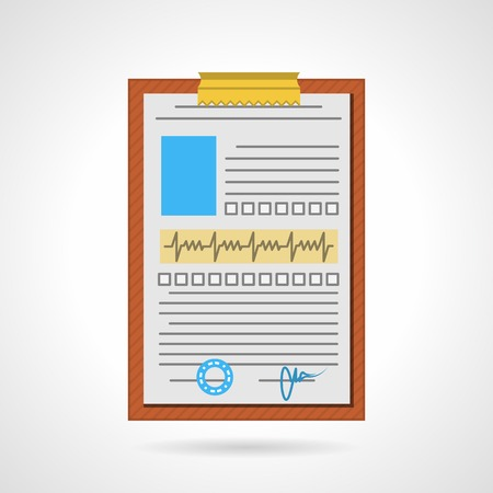 Flat color vector icon for medical report on brown clipboard on white background.