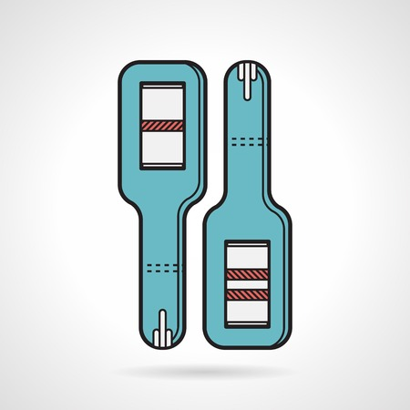 mothering: Flat vector icon for blue positive and negative pregnancy test stick with black contour on white background.