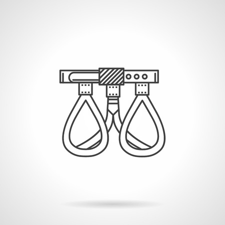 rappelling: Black flat line vector icon for belay belt for rock climbing or mountaineering on white background.