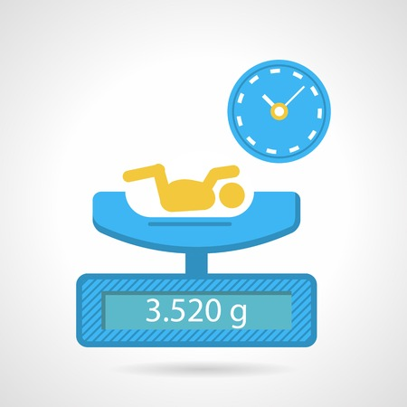 Abstract flat vector icon for weighing a newborn medical procedure in blue and yellow color on white background.