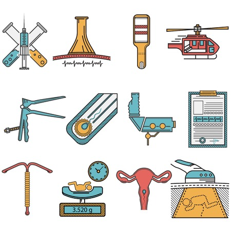 obstetrics: Set of flat colors with black line contour vector icons for gynecology and obstetrics on white background. Illustration