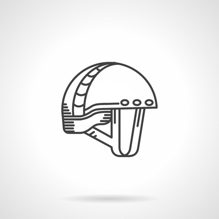 safety harness: Flat line black single vector icon for helmet for extreme sport on white background.