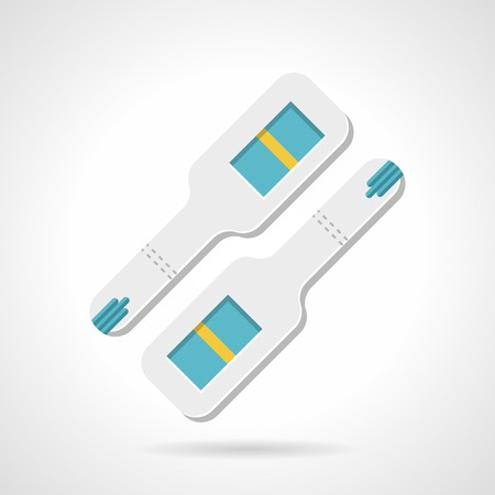the result pregnancy test: Flat color vector icon for two negative pregnancy tests with one yellow stripe on white background.