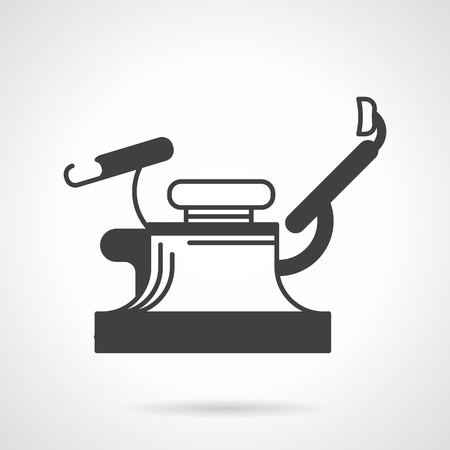 surgical department: Flat black silhouette vector icon for gynecology chair on white background.
