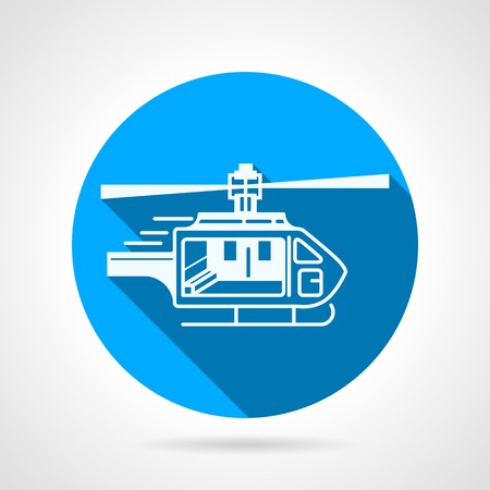 rescue circle: Circle flat blue vector icon with white silhouette rescue or ambulance helicopter. Long shadow design. Illustration