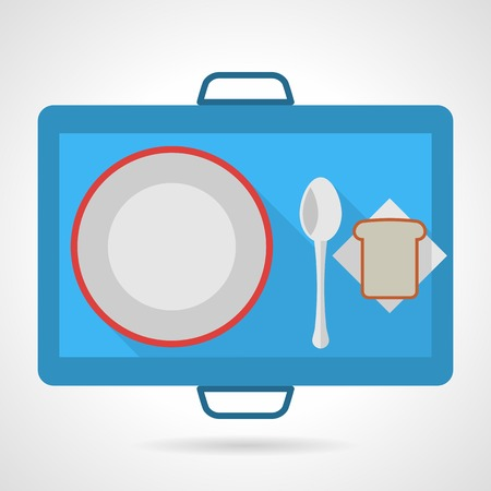 Flat color vector icon for blue food tray with plate, spoon and bread on gray background. Çizim