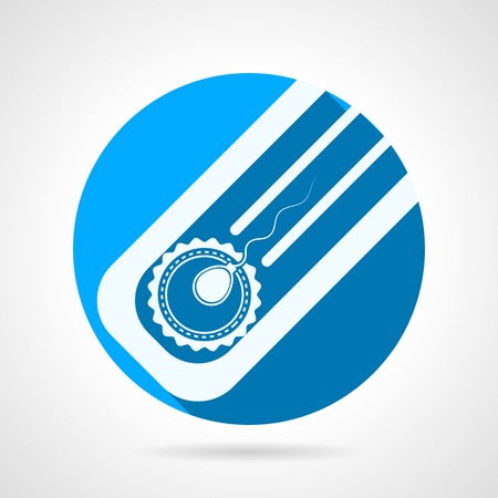 Circle blue flat vector icon with white silhouette elements for fertilization in vitro. Long shadow design. Vector