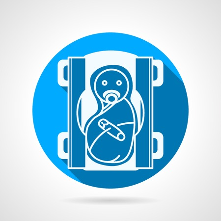 swaddled: Blue circle flat vector icon with white silhouette swaddled newborn with nipple on gray background with long shadow.