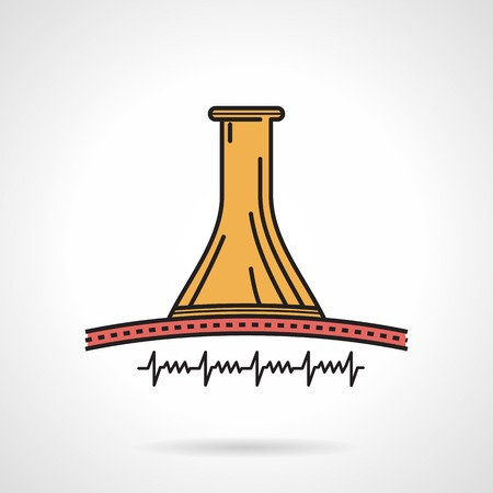 listening to heartbeat: Colored flat vector icon with black contour for listening of fetus heartbeat with wooden obstetrics stethoscope on white background.