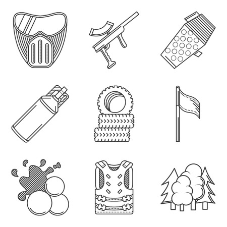 hopper: Set of black flat line vector icons for paintballing on white background. Illustration