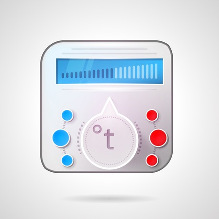 floor heating: Colored vector illustration of gray thermoregulator with circle switch and red and blue elements for heated floor or other heating device for home. Illustration