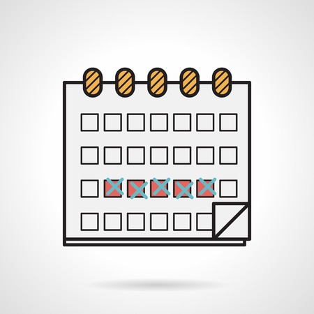 Flat color design vector icon with black contour for calendar of menstrual cycle on white background.