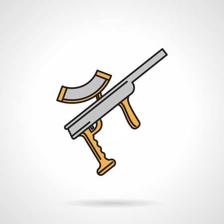hopper: Flat color vector icon with black contour for gray paintball marker with yellow elements on white background.