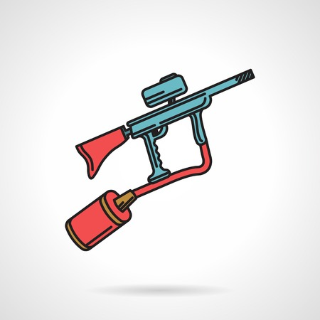 Flat color vector icon with black contour for blue paintball marker with red elements on white background.