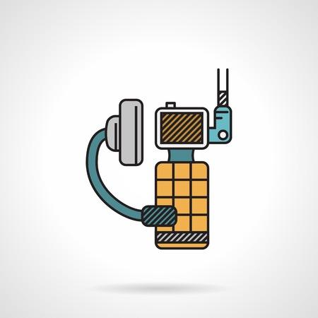 portable radio: Flat vector icon color con contorno negro para radio port�til deporte con el auricular y el micr�fono en el fondo blanco.
