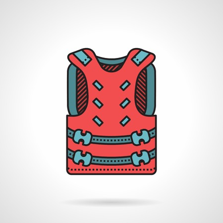waistcoat: Flat color vector icon with black contour for paintball pink waistcoat with blue straps on white background. Illustration