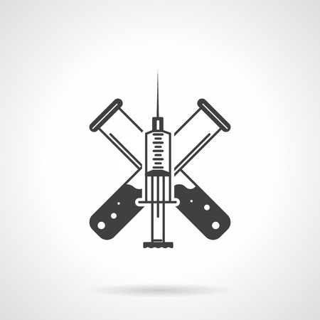 Flat black silhouette vector icon for injection syringe and test-tubes with vaccine on white background. Illustration