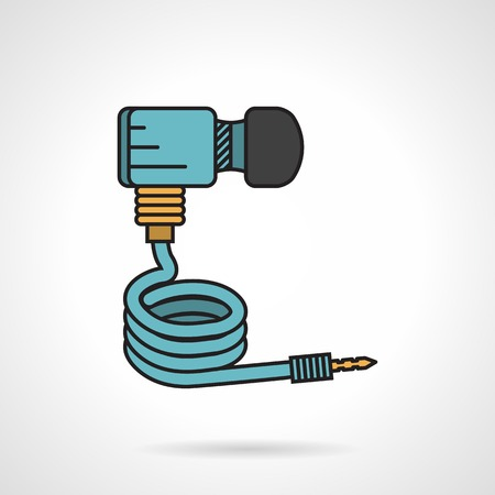 pert: Flat color vector icon with black contour for blue hose for paintball marker on white background. Illustration