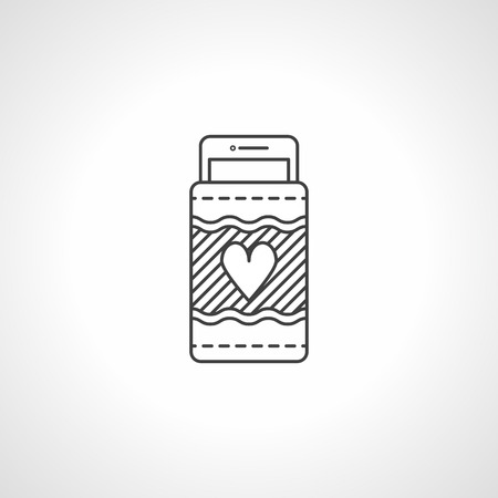 telephonic: Flat black contour vector icon for handmade phone case with heart sign on white background. Illustration