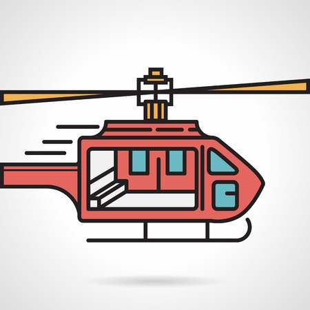 urgency: Flat color vector icon with black contour for red urgency helicopter on white background.