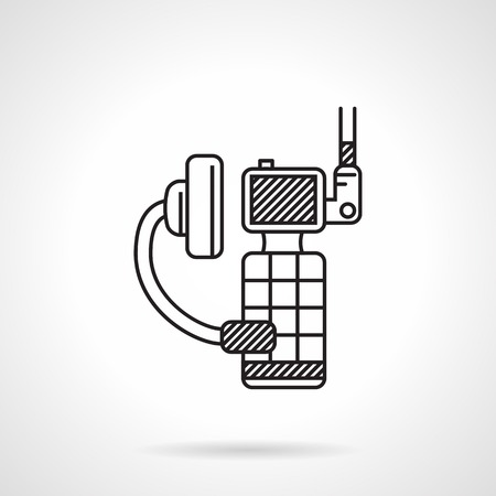 portable radio: Black flat line vector icon for portable radio with earphone and microphone on white background.