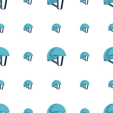 Seamless vector pattern with blue helmet for rock climbing on white background.