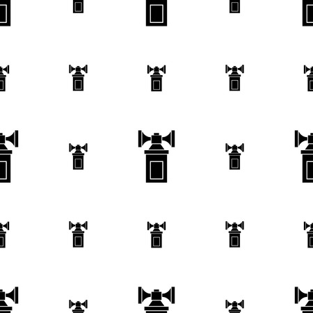 decibel: Seamless vector pattern with black silhouette double air horns on white background. Illustration
