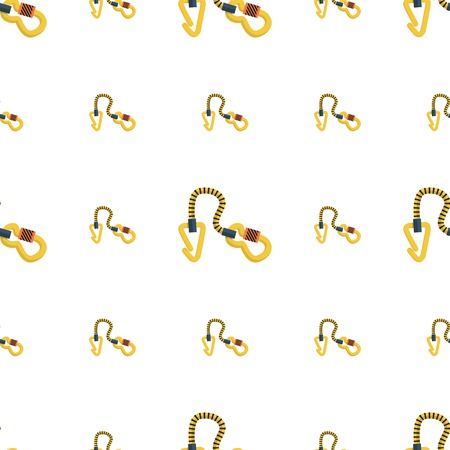 rappelling: Seamless vector pattern for rock climbing with flat colors quickdraws on white background.