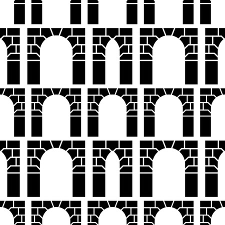 web portal: Seamless vector pattern with black silhouette brick archways on white background.