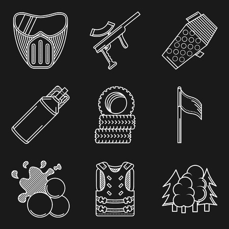 safety harness: Set of white contour vector icons for paintball equipment and accessory for paintball on black background. Illustration