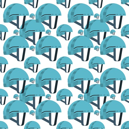 Seamless vector pattern for rock climbing flat color helmet on white background.