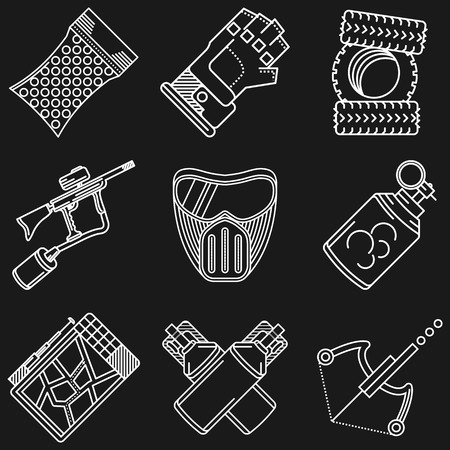 hopper: White flat line icons vector collection of paintball equipment and accessory on black background.