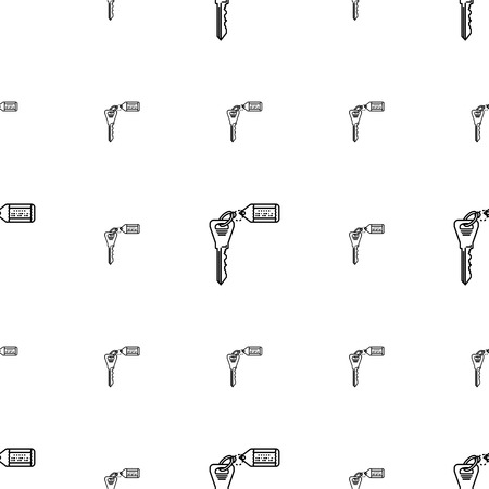 passkey: Seamless vector pattern with black flat line key with tag on white background.