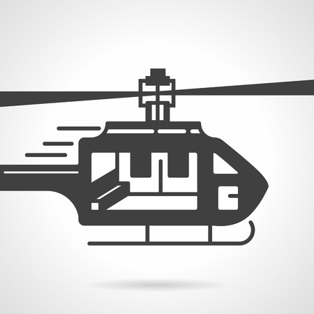 urgency: Flat black silhouette vector icon for urgency helicopter on white background.