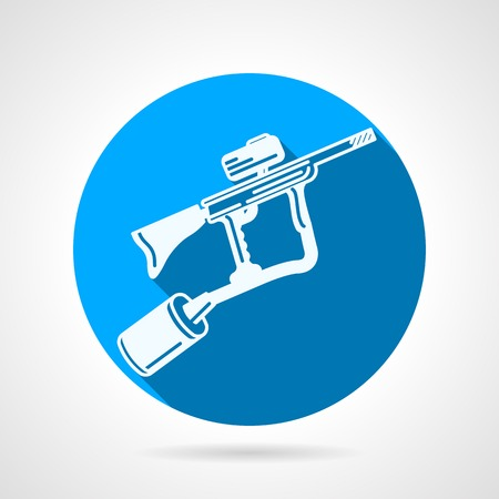 hopper: Single round blue vector icon with white silhouette paintball marker on gray background with long shadow. Illustration