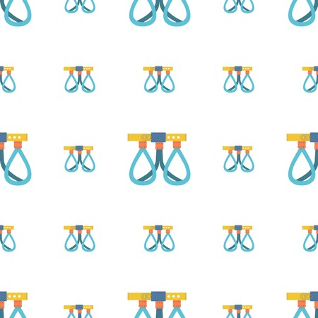 belay: Seamless vector pattern for extreme sport with flat color climbing belay system on white background. Illustration