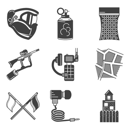 Set of black silhouette flat icons for paintball equipment and outfit on white background. photo