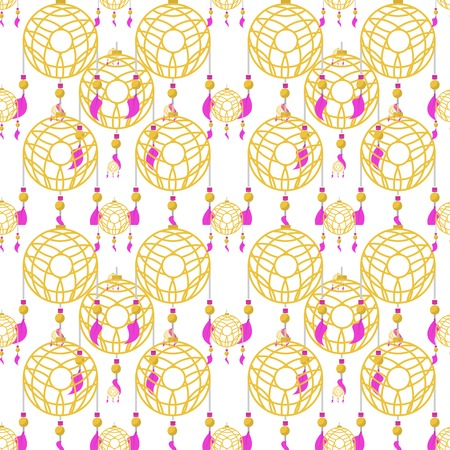 Seamless vector pattern for handmade store with flat color yellow dream catchers with pink feathers on white background. Vector
