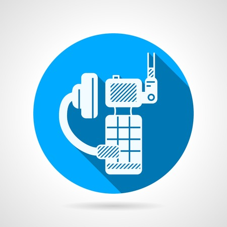 Circle blue flat vector icon with white silhouette portable radio with earphone on gray background with long shadow design. Illustration