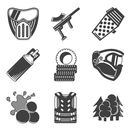 Set of black silhouette flat vector icons for paintball equipment and outfit on white background. Vector