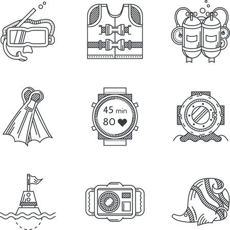 inmersion: Conjunto de iconos planos l�nea de vectores negro para el buceo y el snorkeling en el fondo blanco.