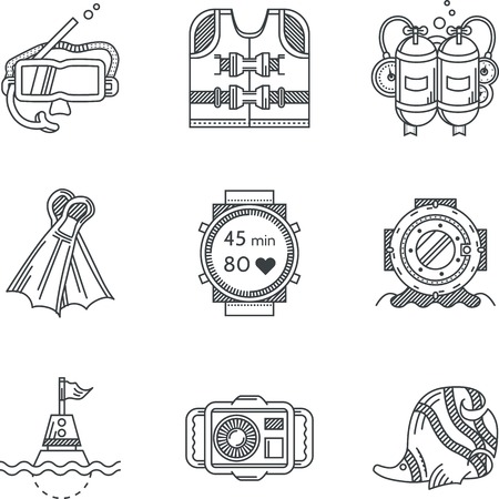 Set of black flat line vector icons for diving and snorkeling on white background. Vector